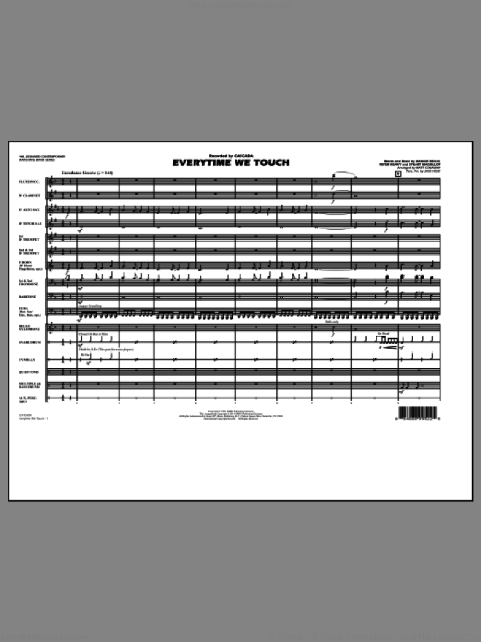 Everytime We Touch (COMPLETE) sheet music for marching band by Matt Conaway and Cascada, intermediate marching band. Score Image Preview.
