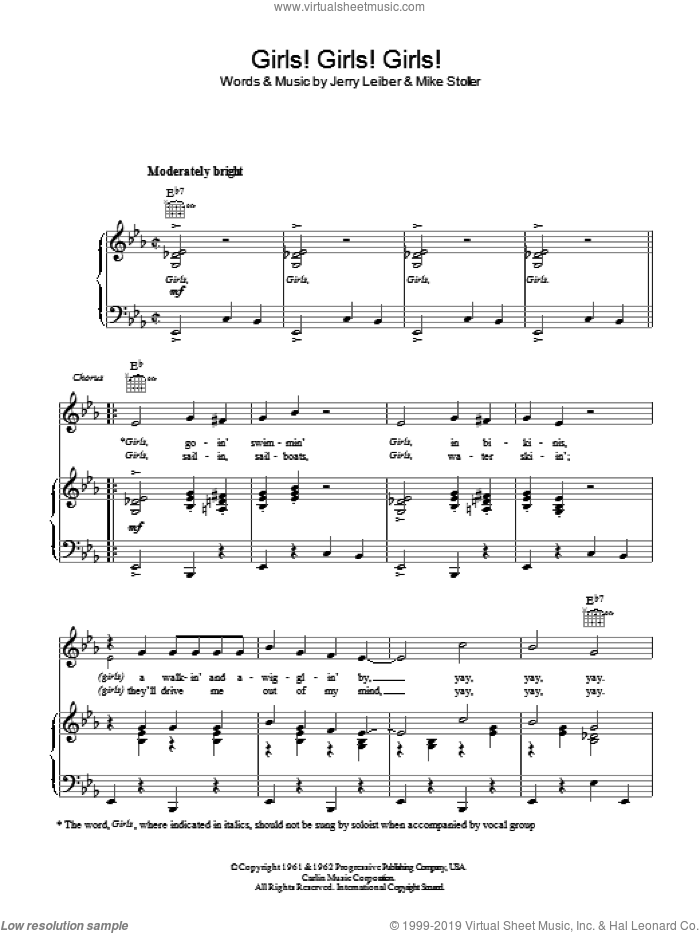 Girls! Girls! Girls! sheet music for voice, piano or guitar by Elvis Presley and Mike Stoller. Score Image Preview.