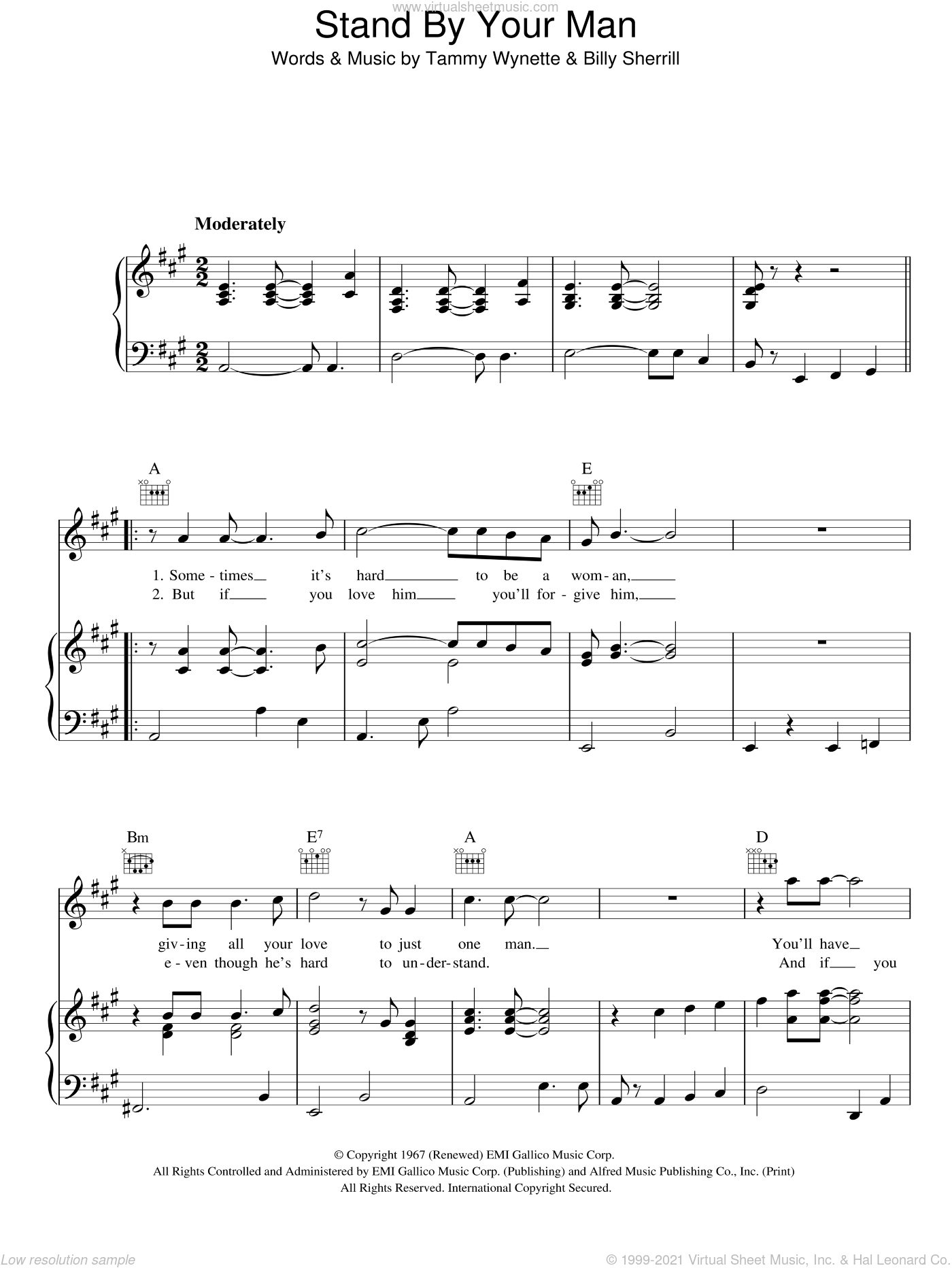 Stand By Your Man sheet music for voice, piano or guitar by Tammy Wynette and Billy Sherrill, intermediate skill level