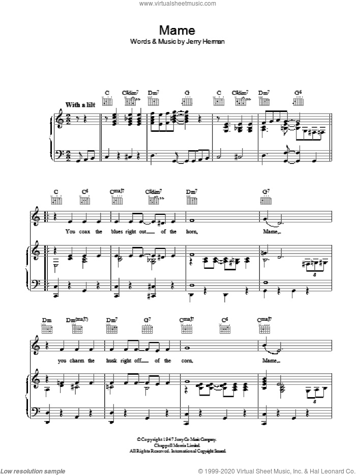 Mame sheet music for voice, piano or guitar by Jerry Herman and Bobby Darin. Score Image Preview.