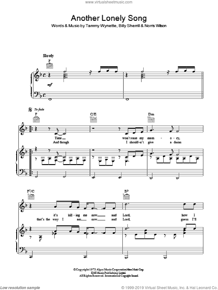 Another Lonely Song sheet music for voice, piano or guitar by Norris Wilson