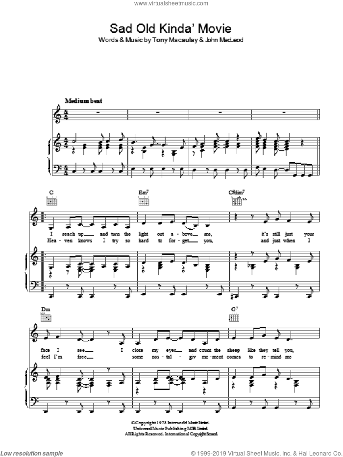 Sad Old Kinda Movie (It's Like A) sheet music for voice, piano or guitar by Pickettywitch and Tony Macaulay. Score Image Preview.