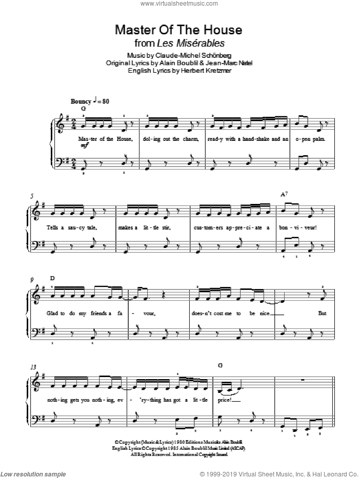 Master Of The House (from Les Miserables) sheet music for piano solo by Boublil and Schonberg, Alain Boublil, Claude-Michel Schonberg, Herbert Kretzmer and Jean-Marc Natel, easy skill level