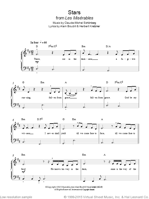 Stars (from Les Miserables) sheet music for piano solo (chords) by Herbert Kretzmer