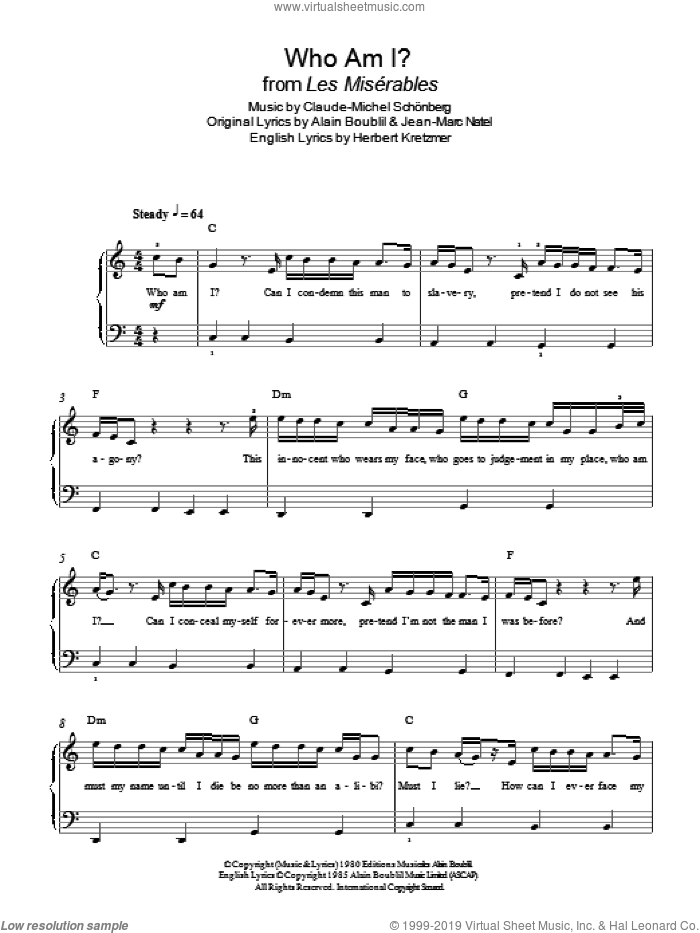 Who Am I? (from Les Miserables) sheet music for piano solo by Boublil and Schonberg, Alain Boublil, Claude-Michel Schonberg, Herbert Kretzmer and Jean-Marc Natel, easy skill level