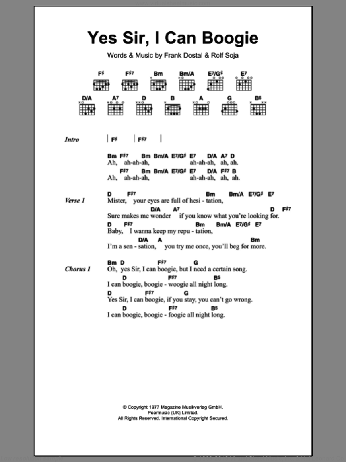 Yes Sir, I Can Boogie sheet music for guitar (chords) by Baccara, Frank Dostal and Rolf Soja, intermediate skill level