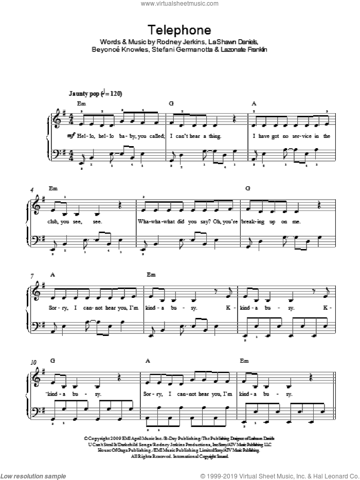 Telephone, (easy) sheet music for piano solo by Lady Gaga, Beyonce Knowles, Beyonce, LaShawn Daniels, Lazonate Franklin and Rodney Jerkins, easy skill level