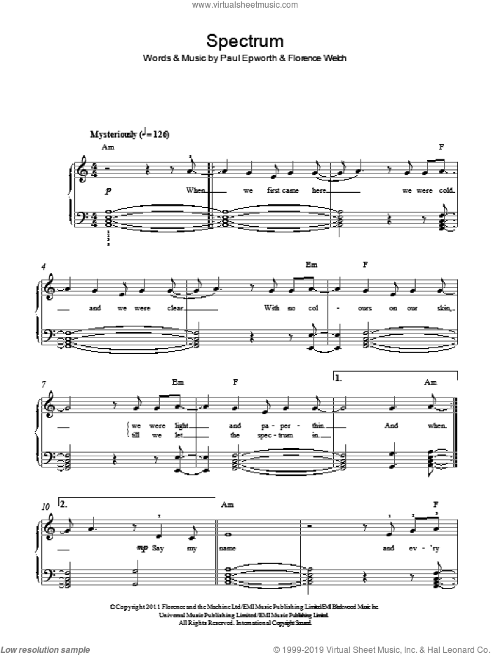 Spectrum sheet music for piano solo by Florence And The Machine, Florence Welch and Paul Epworth, easy skill level