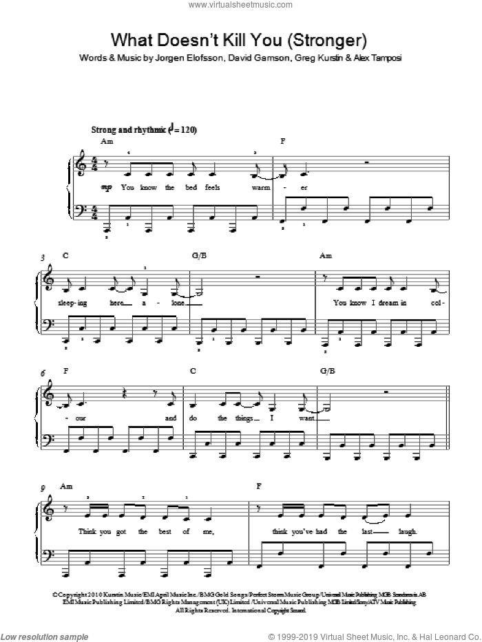 What Doesn't Kill You (Stronger) sheet music for piano solo by Kelly Clarkson, Alex Tamposi, David Gamson, Greg Kurstin, JA�Aorgen Elofsson and Jorgen Elofsson, easy skill level