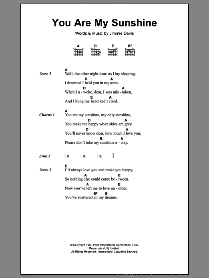 You Are My Sunshine sheet music for guitar (chords) by Jimmie Davis, intermediate skill level