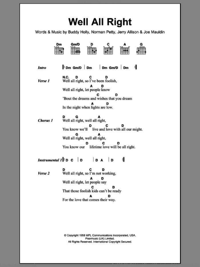 Well All Right sheet music for guitar (chords) by Norman Petty, Buddy Holly and Jerry Allison. Score Image Preview.