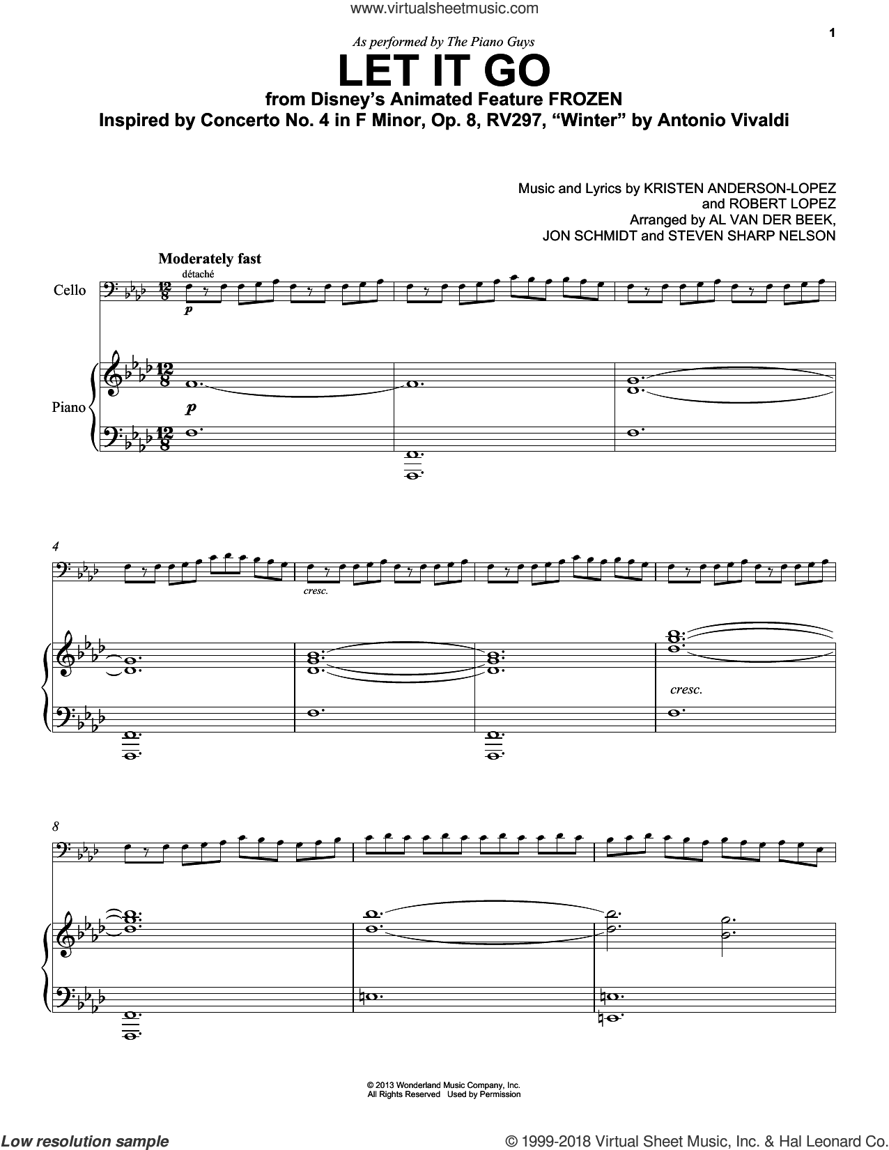 Let It Go (from Frozen) sheet music for cello and piano by The Piano Guys, Idina Menzel, Kristen Anderson-Lopez and Robert Lopez, intermediate skill level