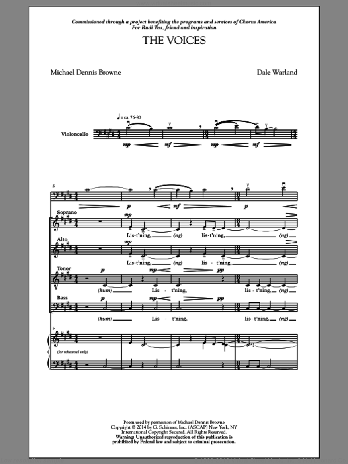 The Voices sheet music for choir (SATB) by Michael Dennis Browne and Dale Warland. Score Image Preview.