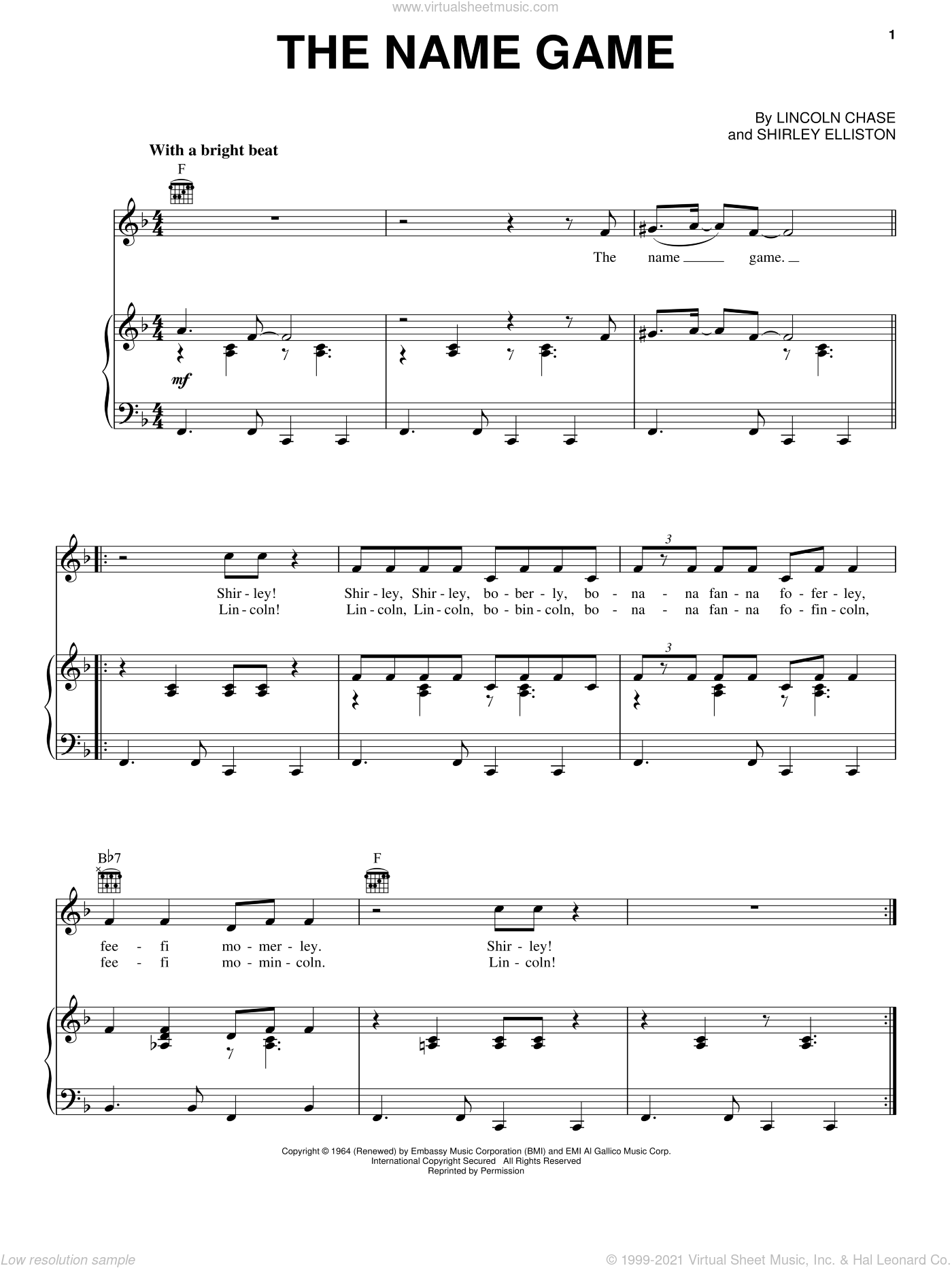 The Name Game sheet music for voice, piano or guitar by Shirley Elliston