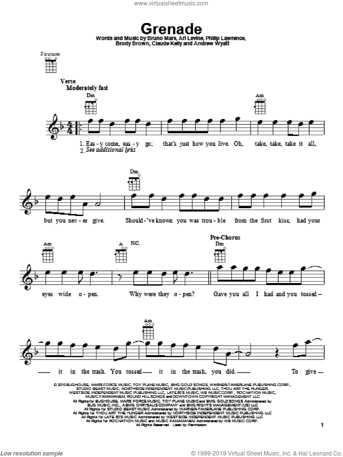 Grenade sheet music for ukulele by Philip Lawrence, Andrew Wyatt, Ari Levine, Brody Brown, Bruno Mars and Claude Kelly. Score Image Preview.