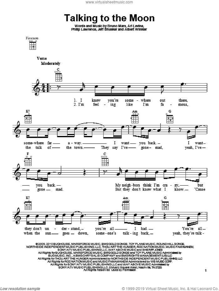 Talking To The Moon sheet music for ukulele by Bruno Mars, Albert Winkler, Ari Levine, Jeff Bhasker and Philip Lawrence, intermediate skill level
