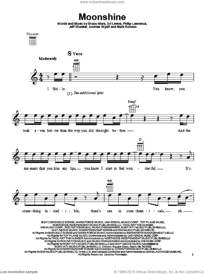 Moonshine sheet music for ukulele by Philip Lawrence, Andrew Wyatt, Ari Levine, Bruno Mars, Jeff Bhasker and Mark Ronson. Score Image Preview.