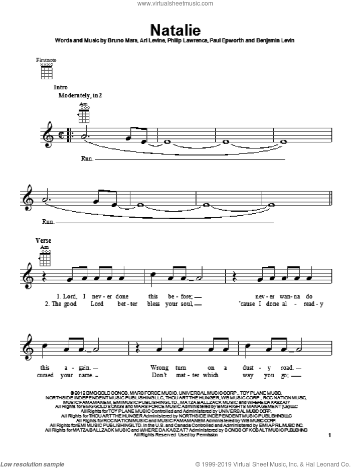 Natalie sheet music for ukulele by Philip Lawrence, Ari Levine, Benjamin Levin, Bruno Mars and Paul Epworth. Score Image Preview.