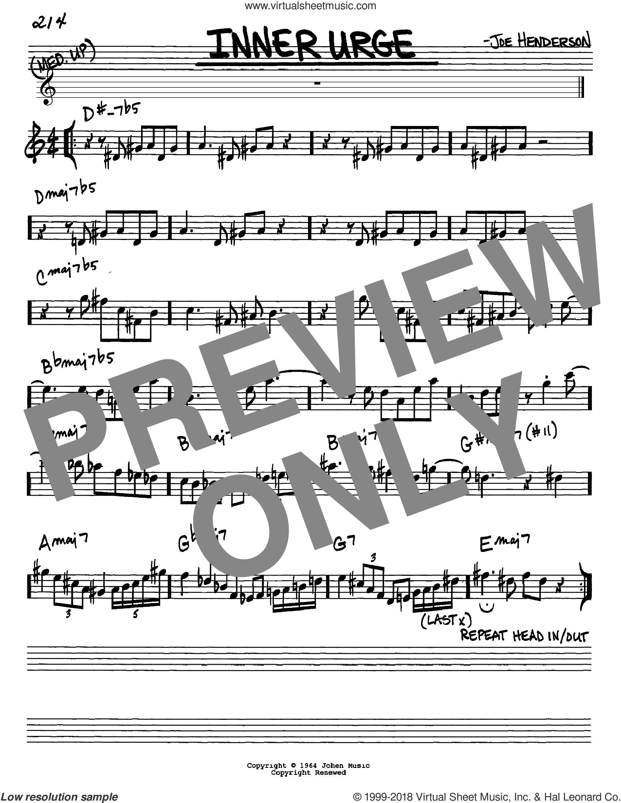 Inner Urge sheet music for voice and other instruments (Eb) by Joe Henderson