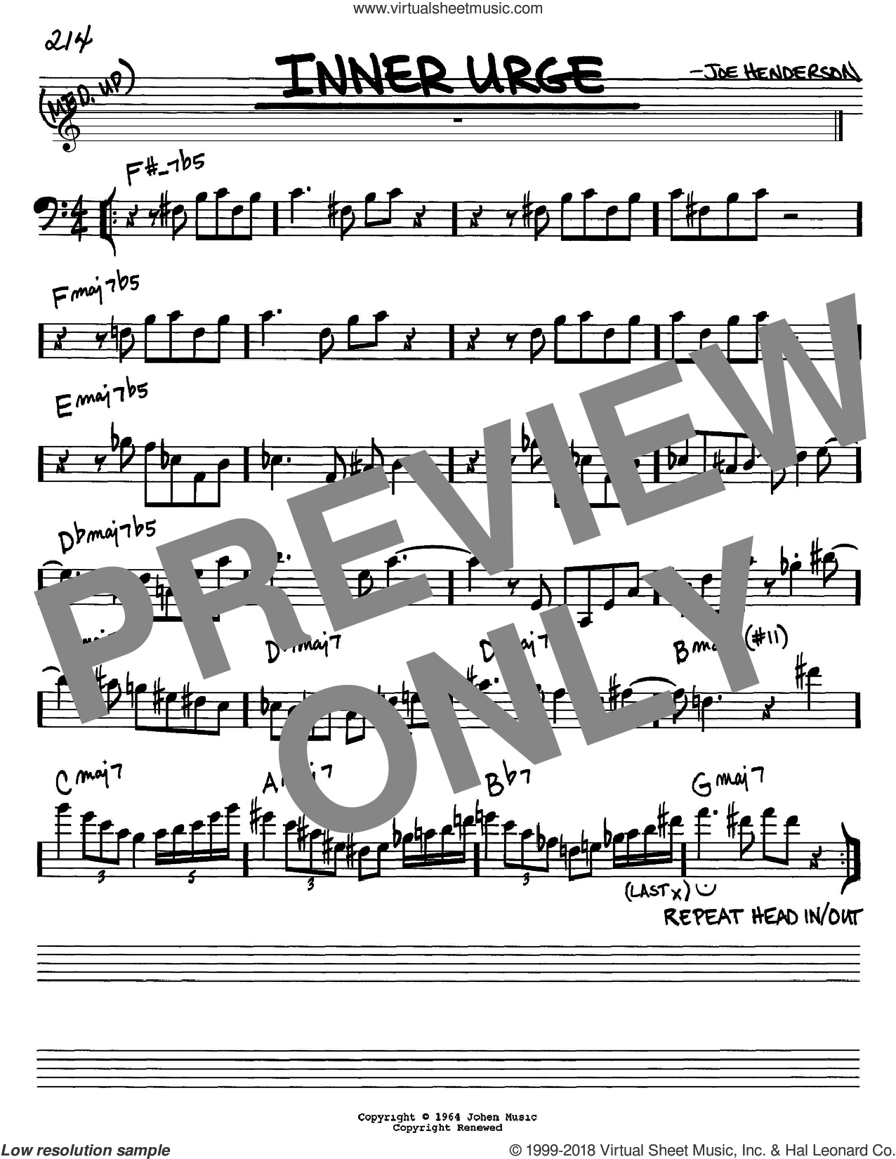 Inner Urge sheet music for voice and other instruments (Bass Clef ) by Joe Henderson, intermediate voice. Score Image Preview.