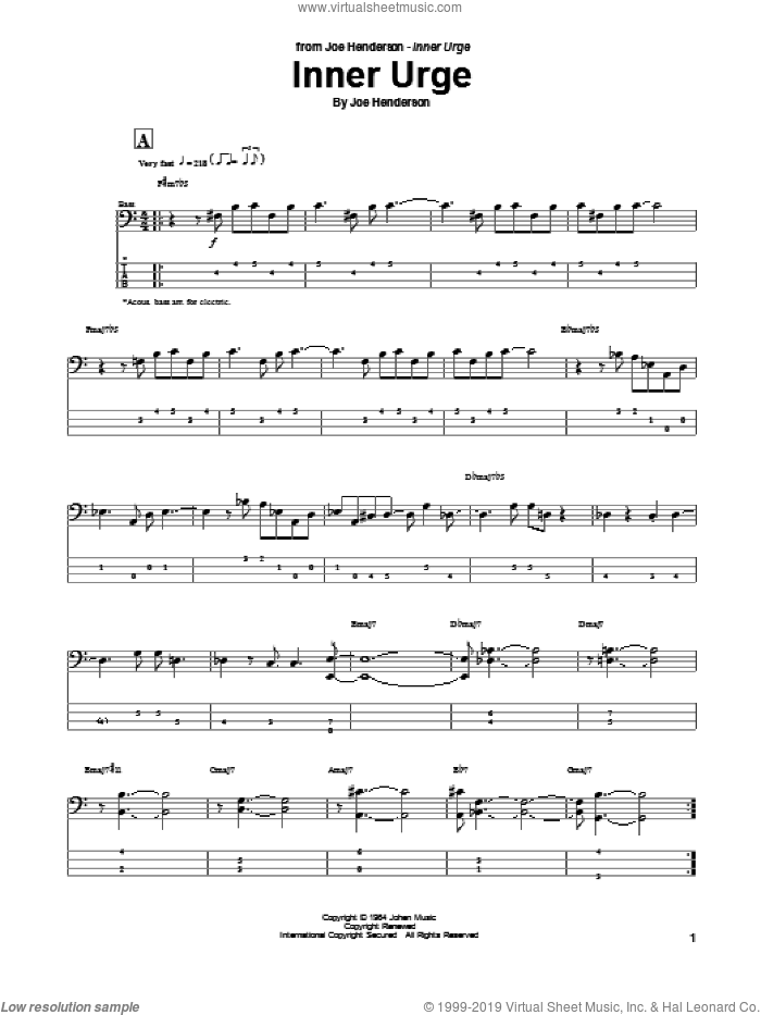 Inner Urge sheet music for bass (tablature) (bass guitar) by Joe Henderson, intermediate skill level