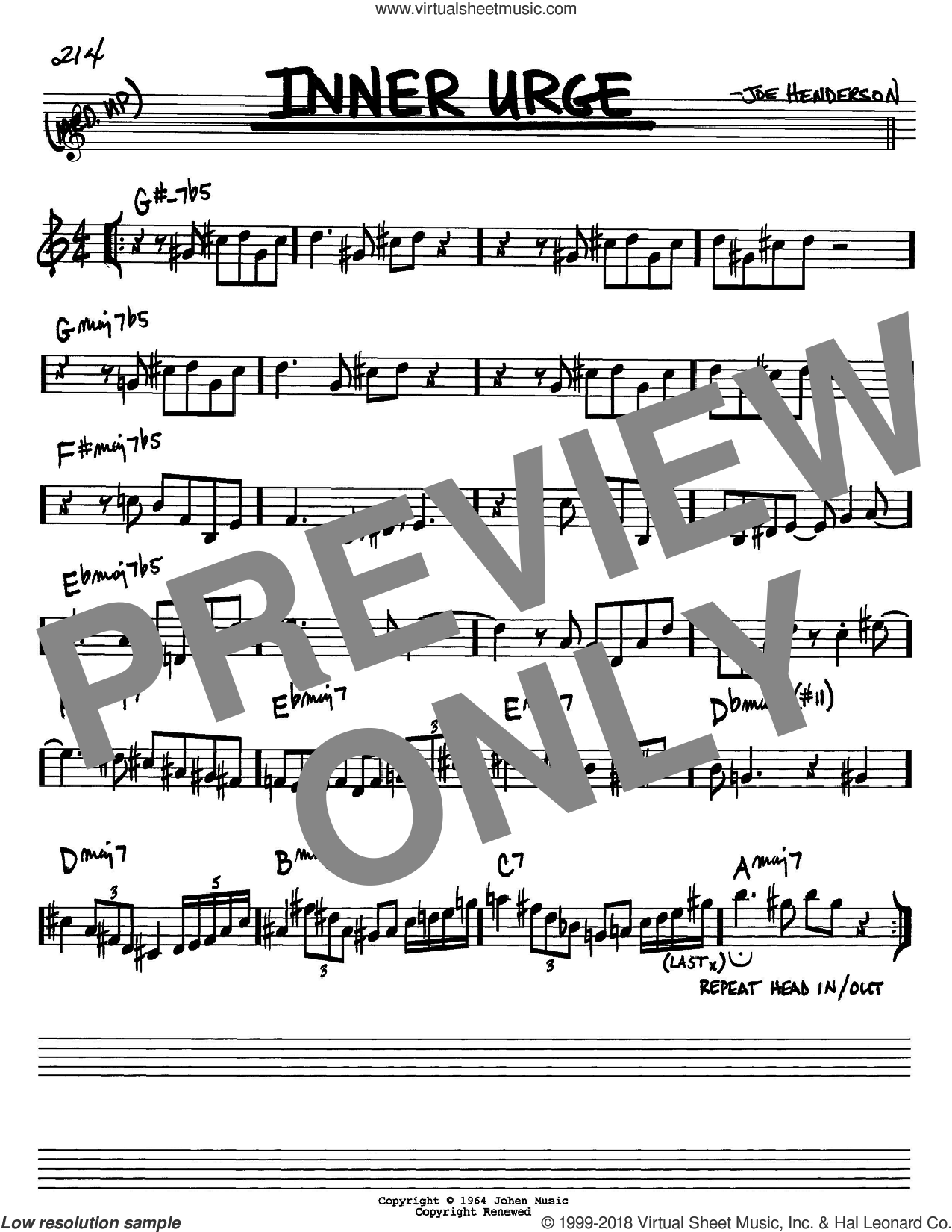 Inner Urge sheet music for voice and other instruments (Bb) by Joe Henderson. Score Image Preview.
