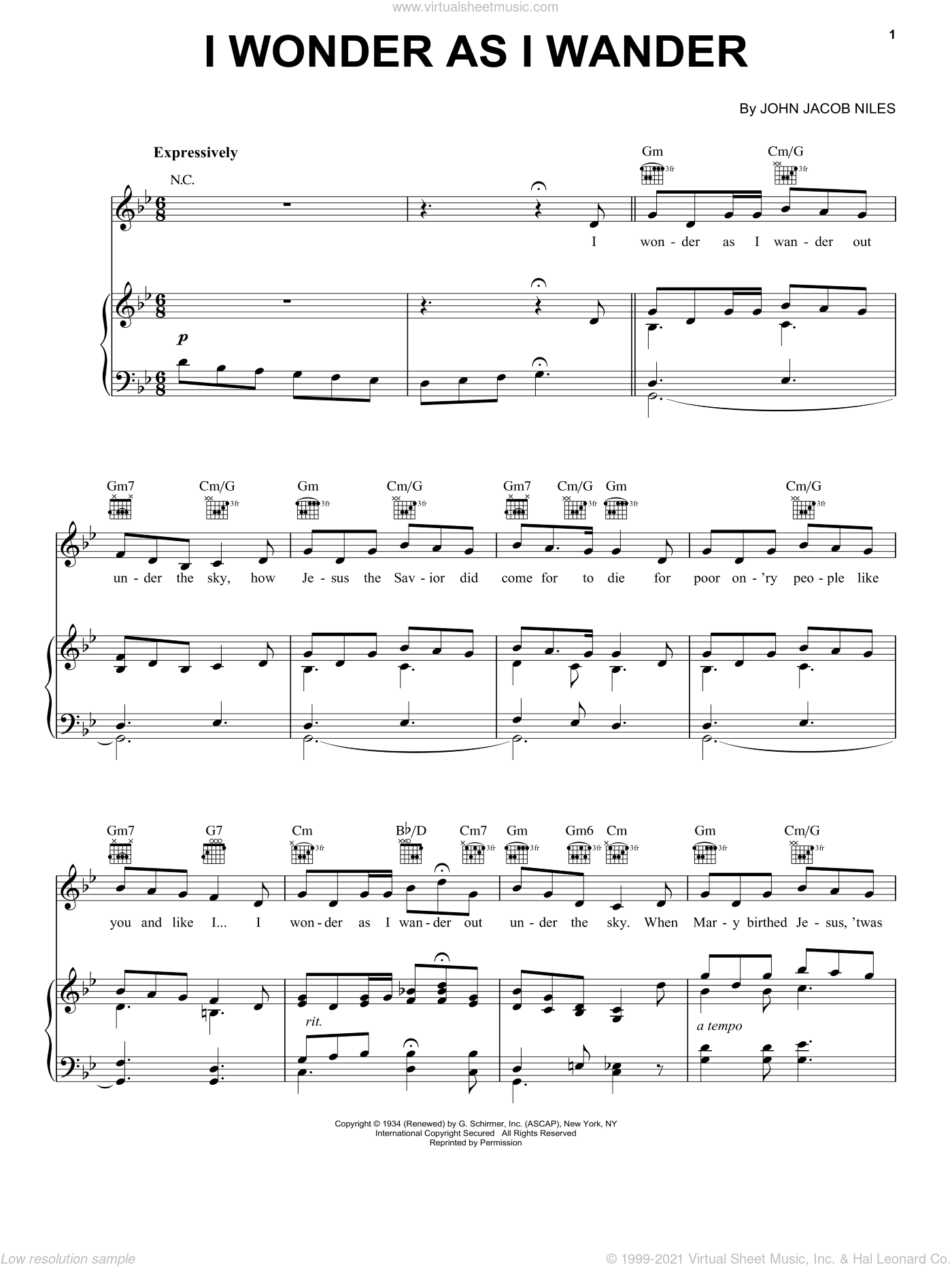 I Wonder As I Wander sheet music for voice, piano or guitar by John Jacob Niles, intermediate skill level