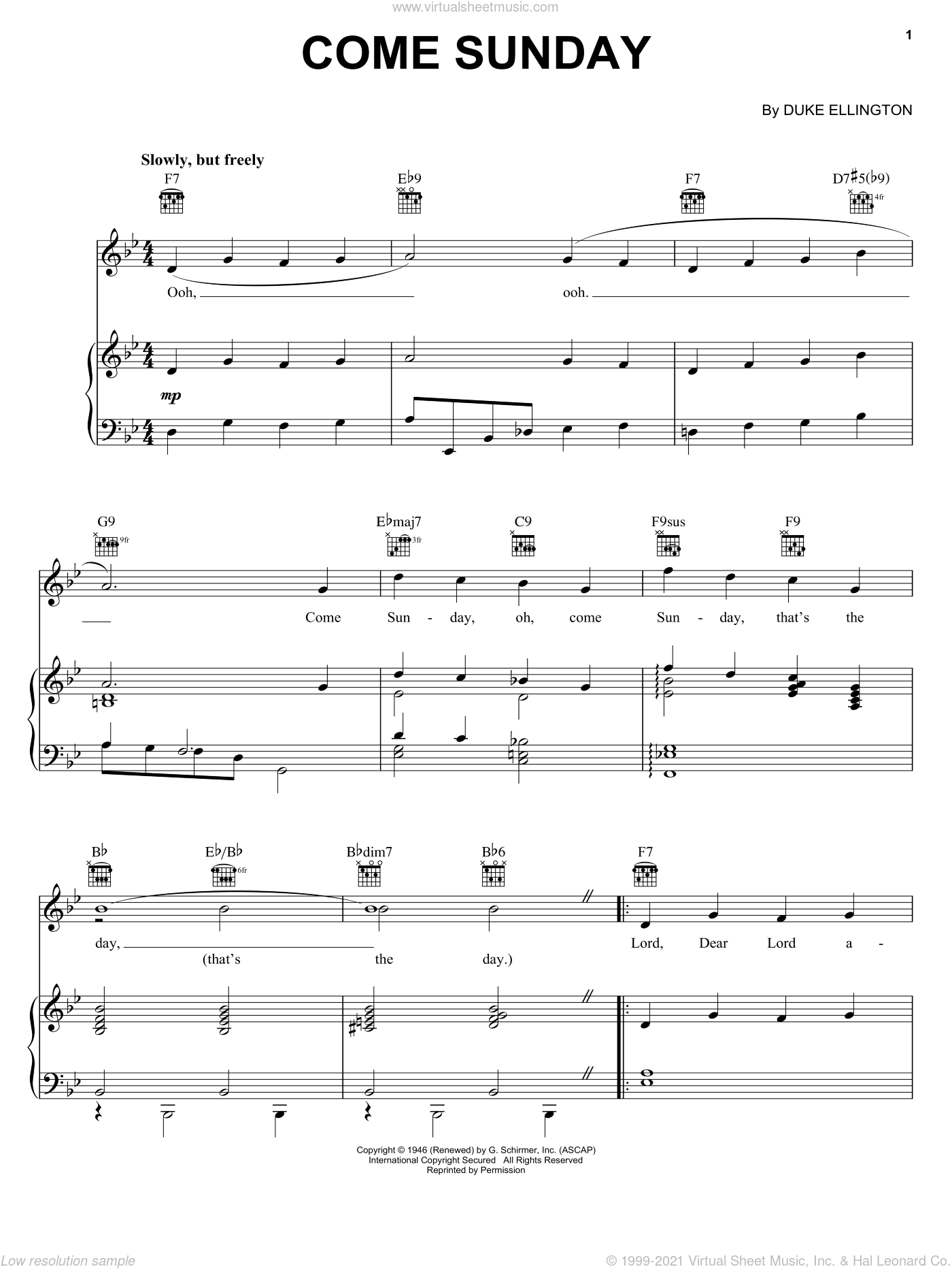 Come Sunday sheet music for voice, piano or guitar by Duke Ellington, intermediate skill level