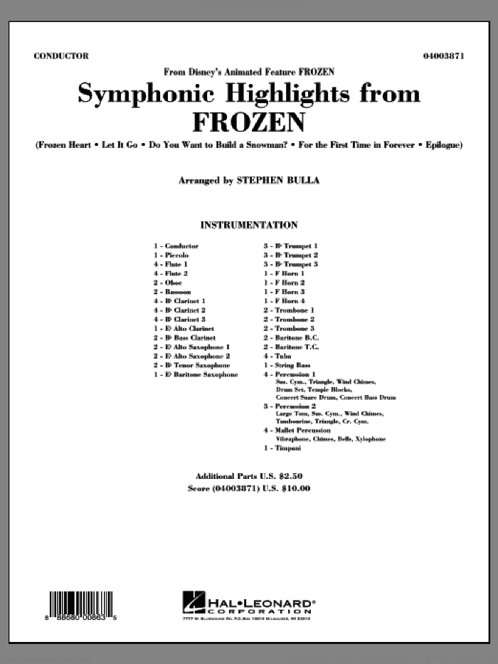 Symphonic Highlights from Frozen sheet music for concert band (full score) by Stephen Bulla