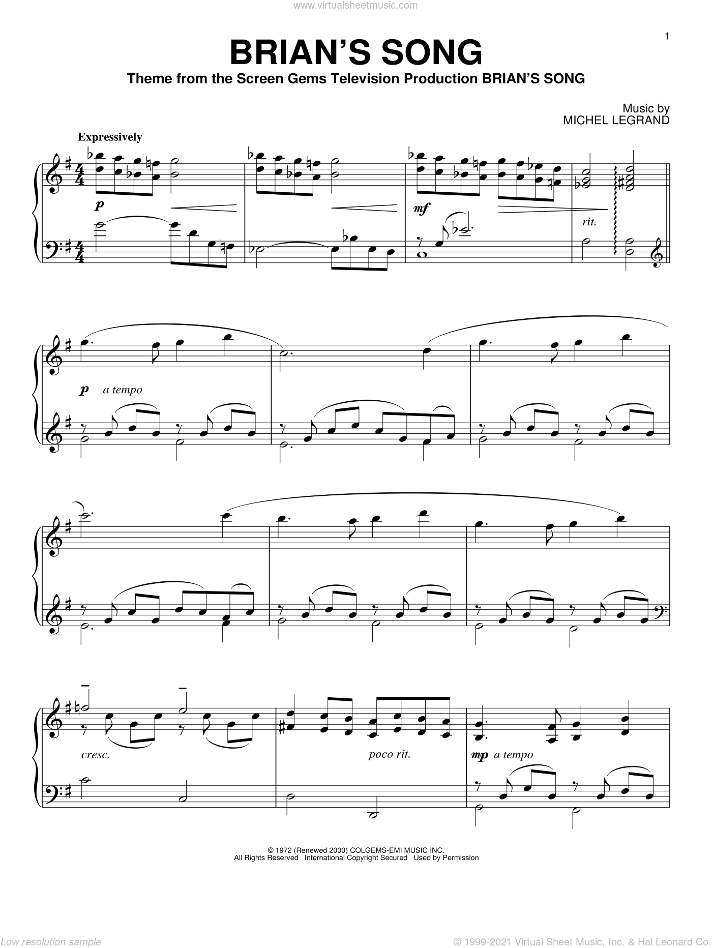Brian's Song sheet music for piano solo by Michel LeGrand. Score Image Preview.