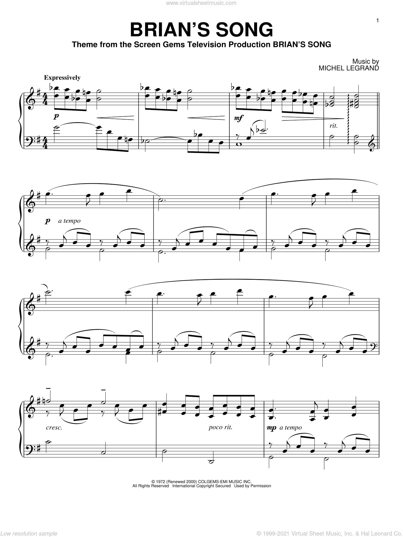 Brian's Song sheet music for piano solo by Michel LeGrand, intermediate skill level