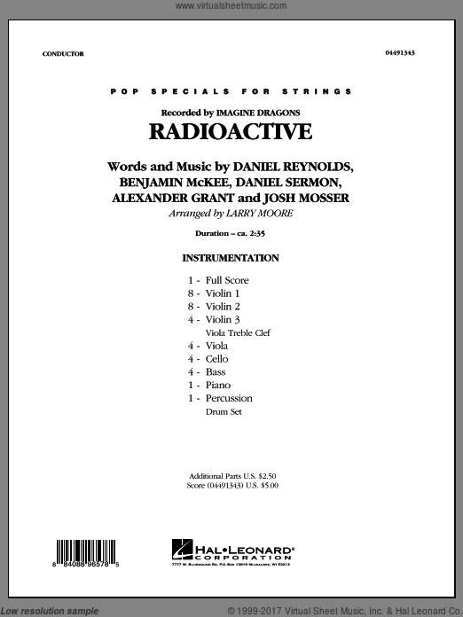 Radioactive (COMPLETE) sheet music for orchestra by Josh Mosser