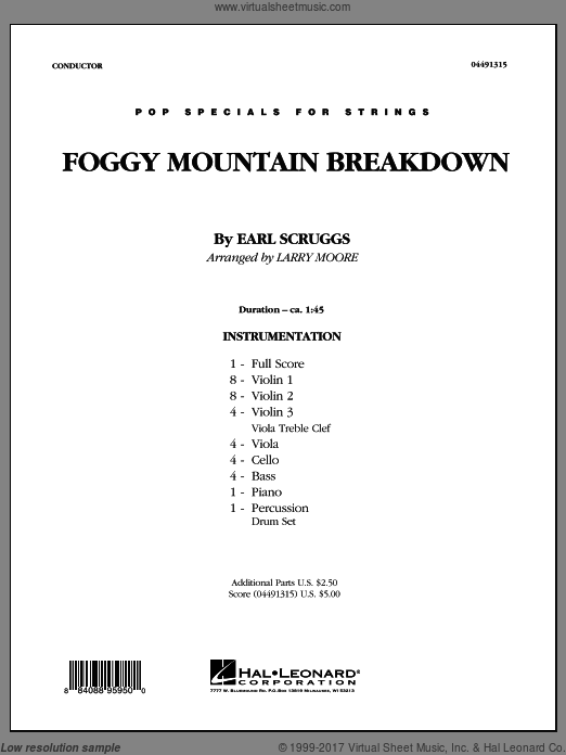 Foggy Mountain Breakdown (COMPLETE) sheet music for orchestra by Earl Scruggs