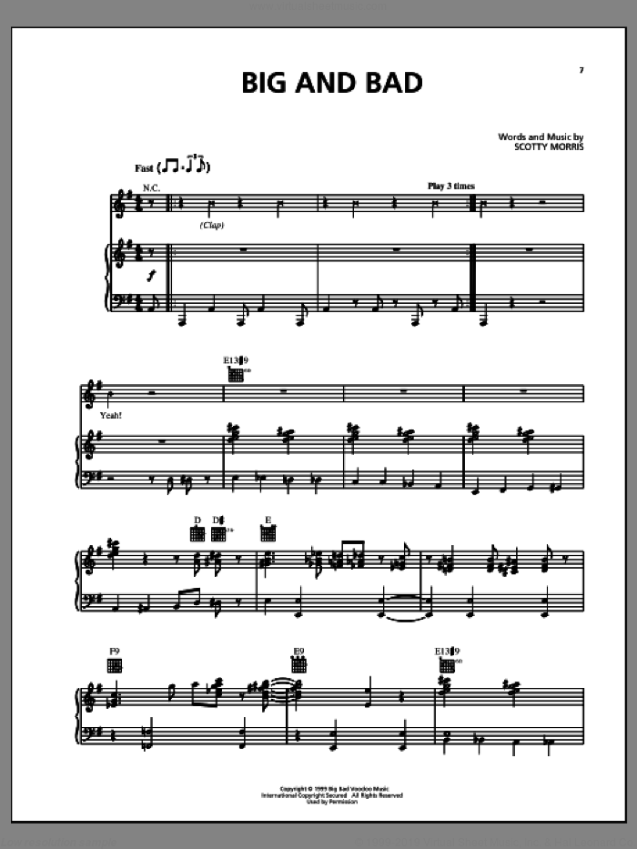 Big And Bad sheet music for voice, piano or guitar by Big Bad Voodoo Daddy. Score Image Preview.
