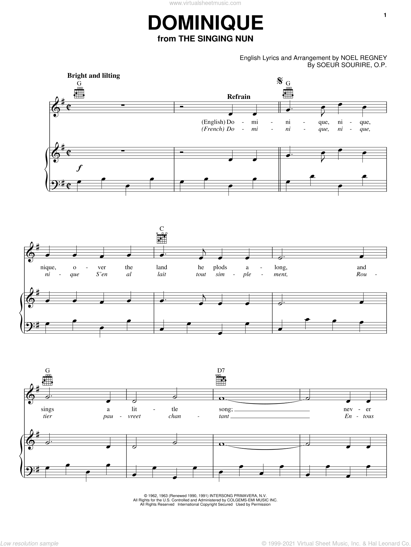 Dominique sheet music for voice, piano or guitar by The Singing Nun, intermediate voice, piano or guitar. Score Image Preview.