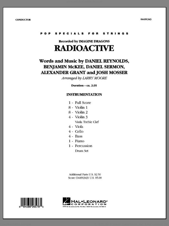 Radioactive (COMPLETE) sheet music for orchestra by Larry Moore, Alexander Grant, Benjamin McKee, Daniel Reynolds, Daniel Sermon, Imagine Dragons and Josh Mosser, intermediate. Score Image Preview.