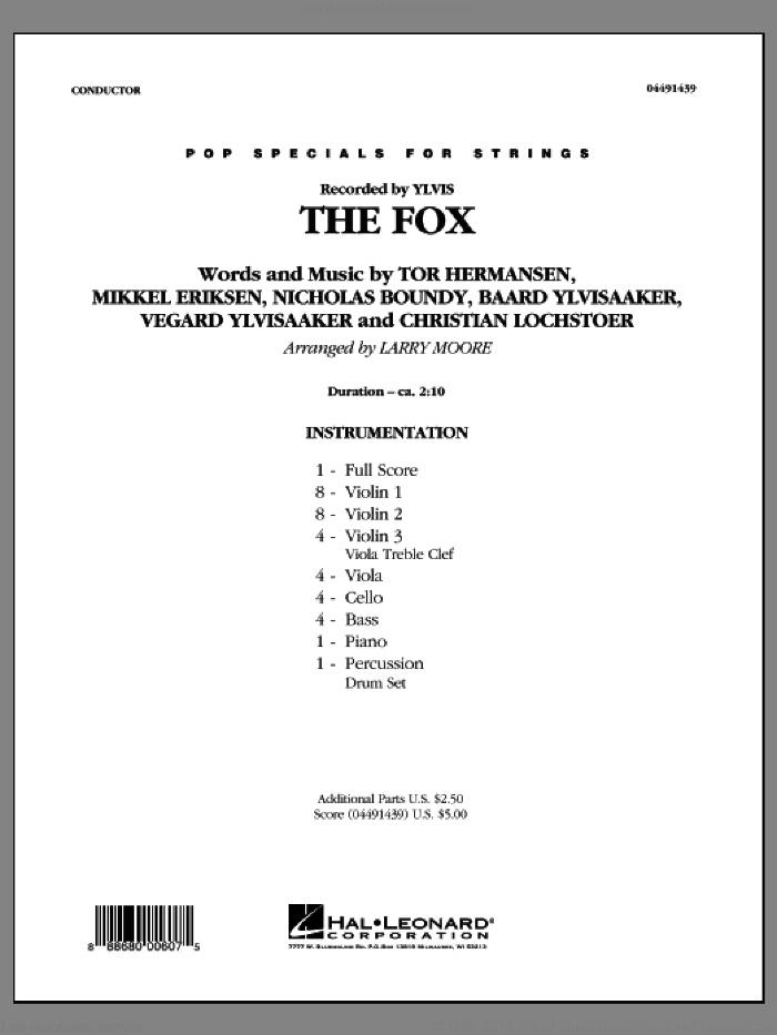 The Fox (What Does the Fox Say?) (COMPLETE) sheet music for orchestra by Larry Moore, Baard Ylvisaaker, Christian Lochstoer, Mikkel Eriksen, Nicholas Boundy, Tor Erik Hermansen, Vegard Ylvisaaker and Ylvis, intermediate