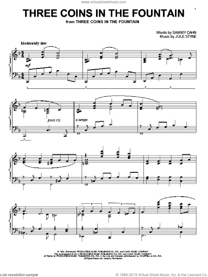 Three Coins In The Fountain sheet music for piano solo by The Four Aces, Jule Styne and Sammy Cahn, intermediate. Score Image Preview.