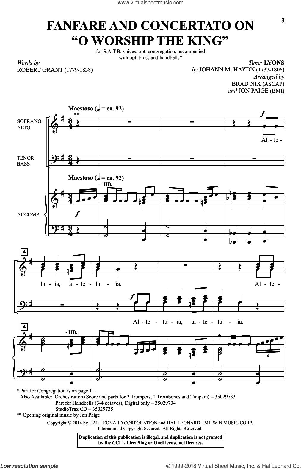 Fanfare And Concertato On 'O Worship The King' sheet music for choir (SATB: soprano, alto, tenor, bass) by Brad Nix, Johann Haydn, Johann Michael Haydn, Jon Paige and Robert Grant, intermediate skill level