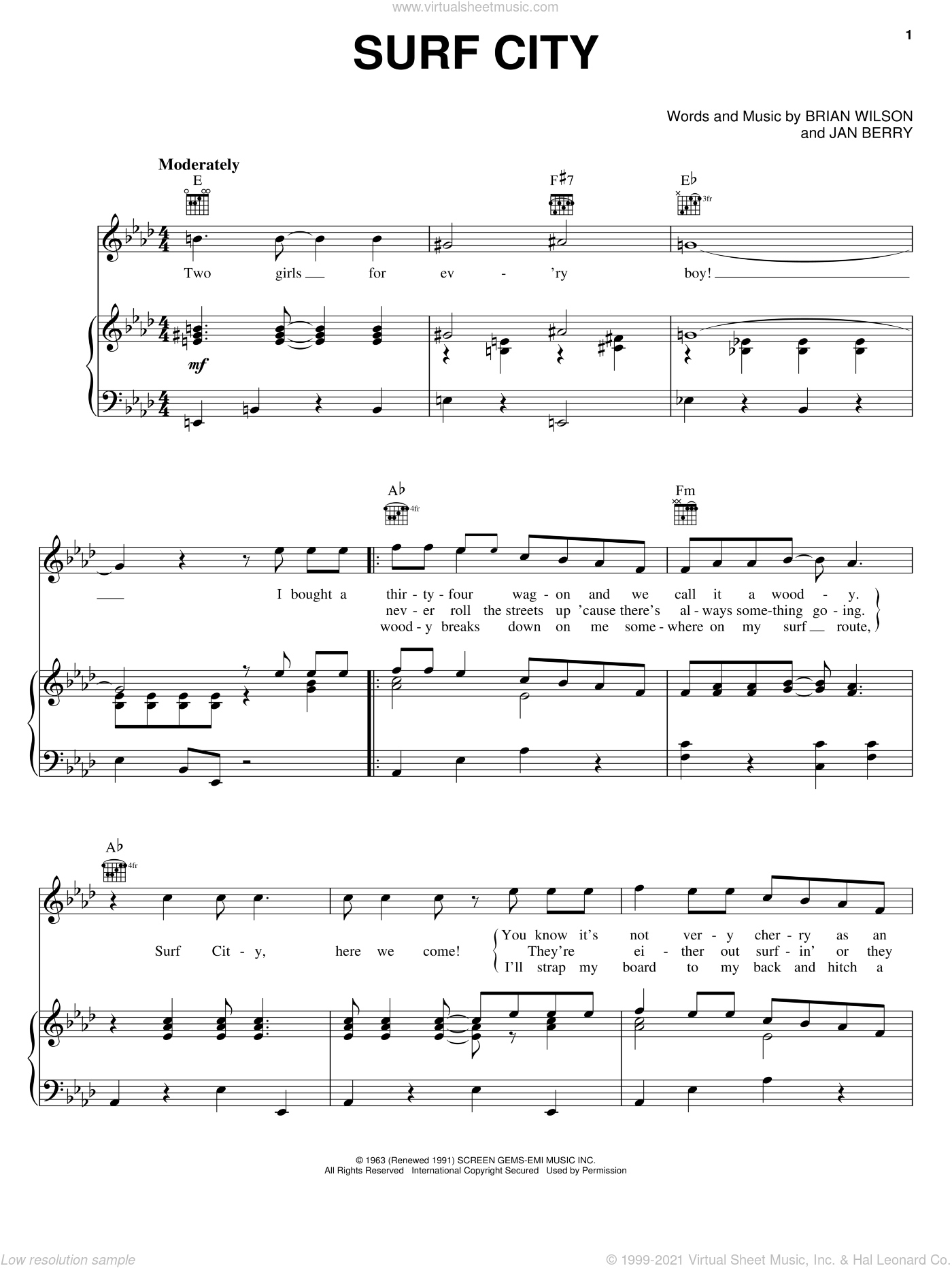 Surf City sheet music for voice, piano or guitar by Jan & Dean, Brian Wilson and Jan Berry, intermediate skill level