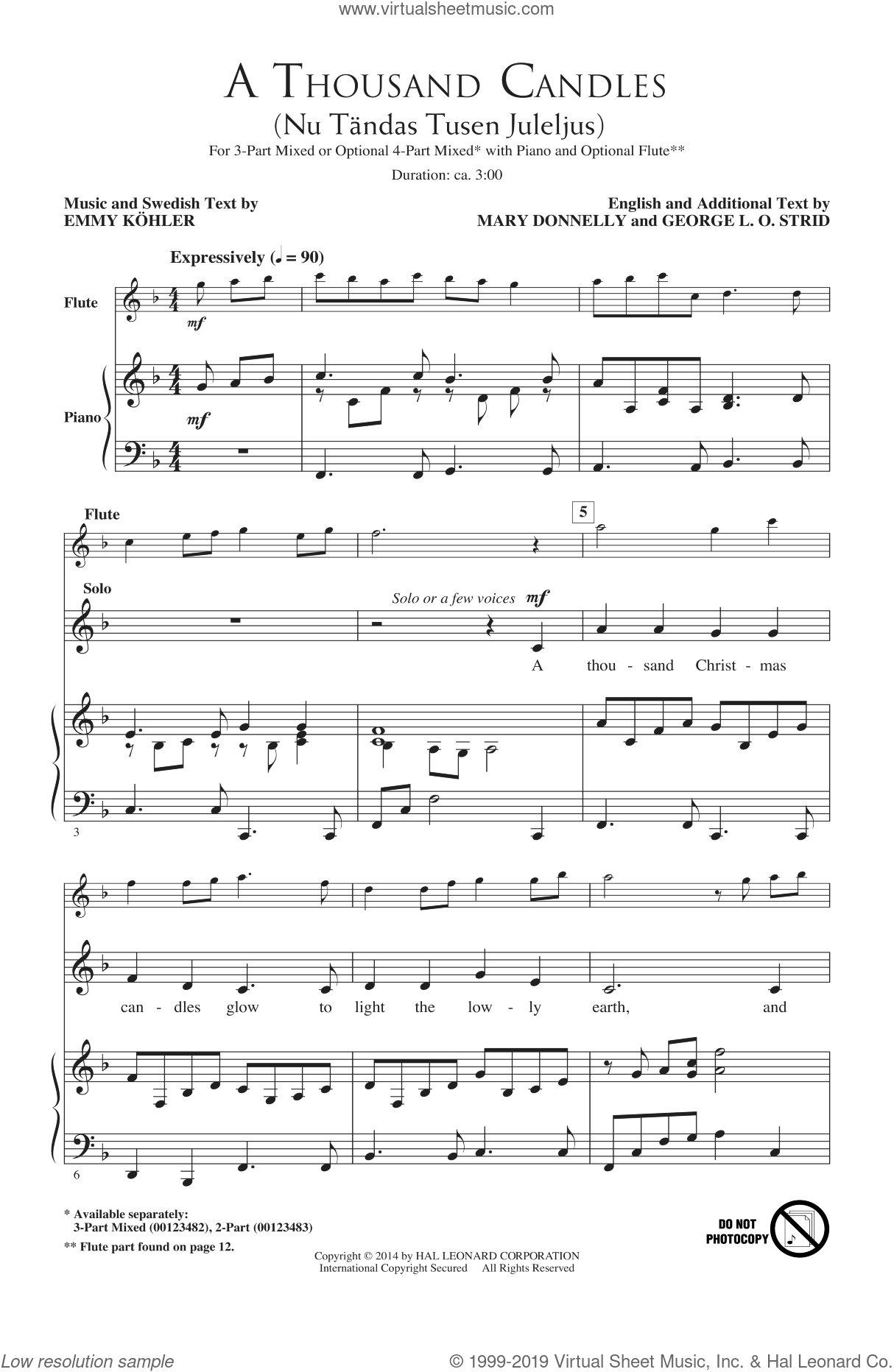 A Thousand Candles (Nu Tandas Tusen Juleljus) sheet music for choir (chamber ensemble) by Emmy Kohler, George L.O. Strid and Mary Donnelly. Score Image Preview.