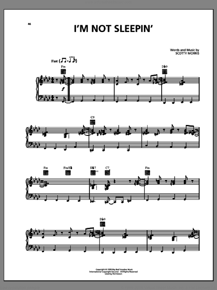 I'm Not Sleepin' sheet music for voice, piano or guitar by Big Bad Voodoo Daddy, intermediate. Score Image Preview.