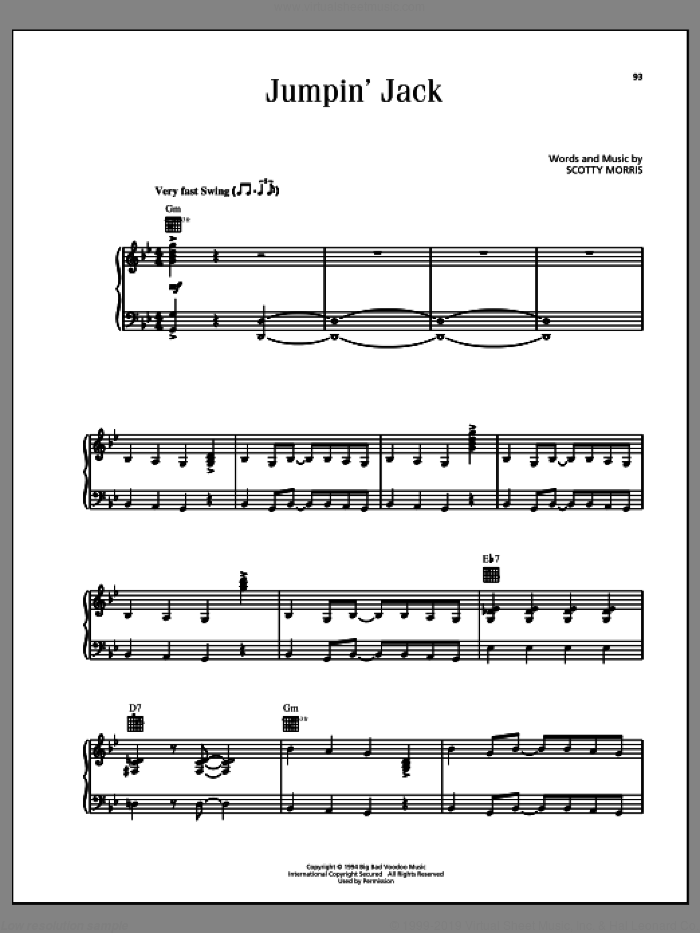 Jumpin' Jack sheet music for voice, piano or guitar by Scotty Morris. Score Image Preview.