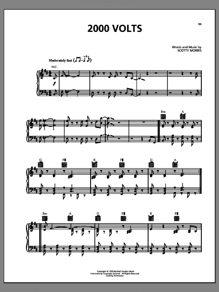 2000 Volts sheet music for voice, piano or guitar by Big Bad Voodoo Daddy, intermediate voice, piano or guitar. Score Image Preview.