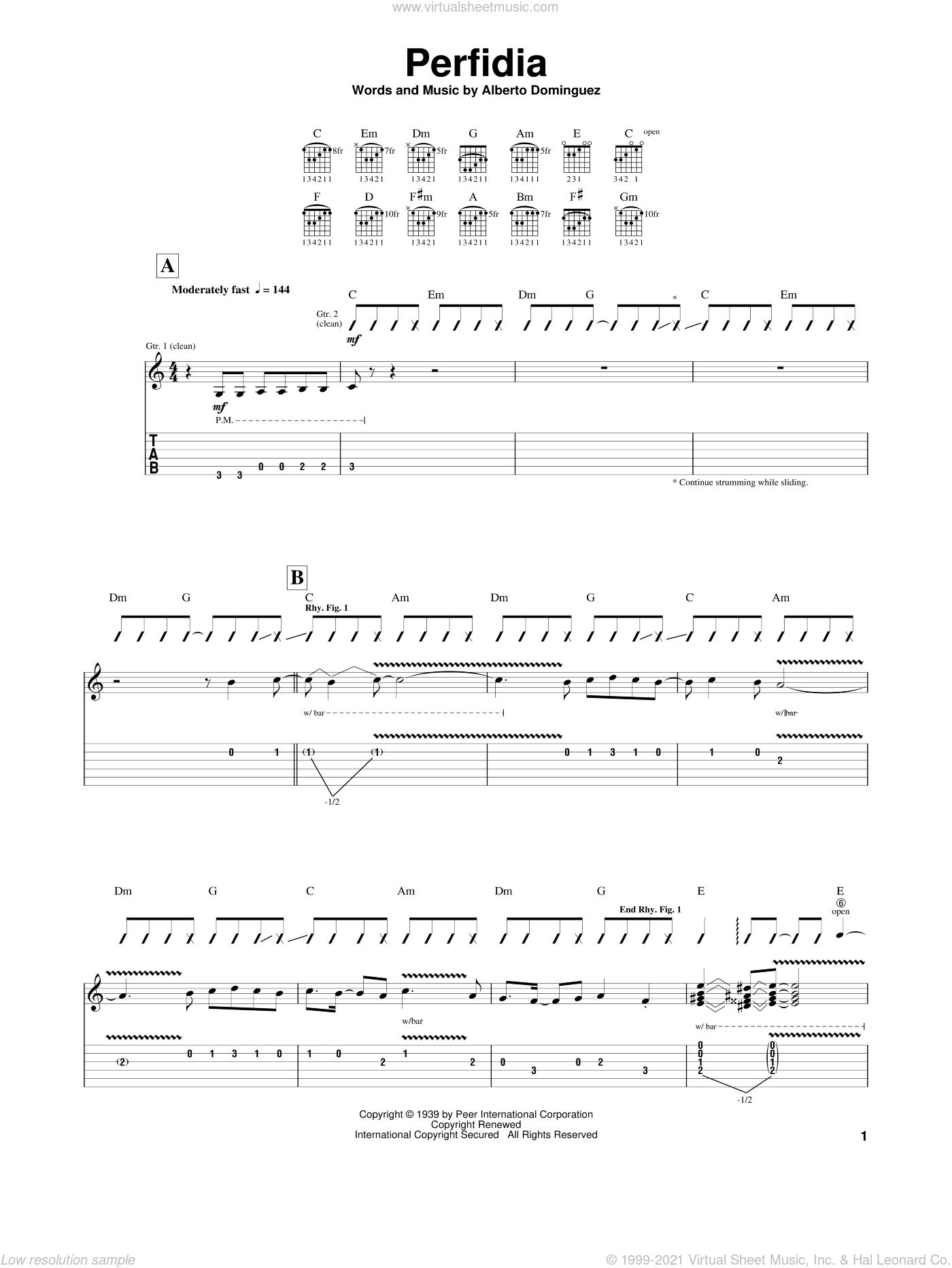 Perfidia sheet music for guitar (tablature) by Alberto Dominguez