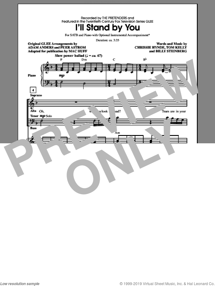 I'll Stand By You sheet music for choir and piano (SATB) by Tom Kelly, Carrie Underwood, Glee Cast, The Pretenders, Billy Steinberg, Chrissie Hynde and Mac Huff. Score Image Preview.