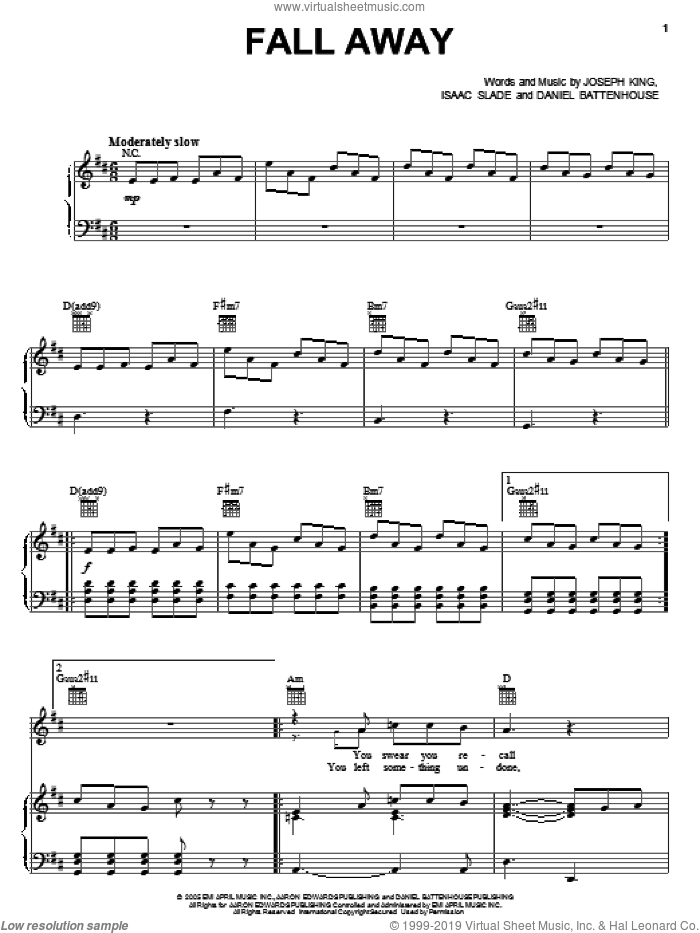 Fall Away sheet music for voice, piano or guitar by The Fray, Daniel Battenhouse, Isaac Slade and Joseph King, intermediate skill level