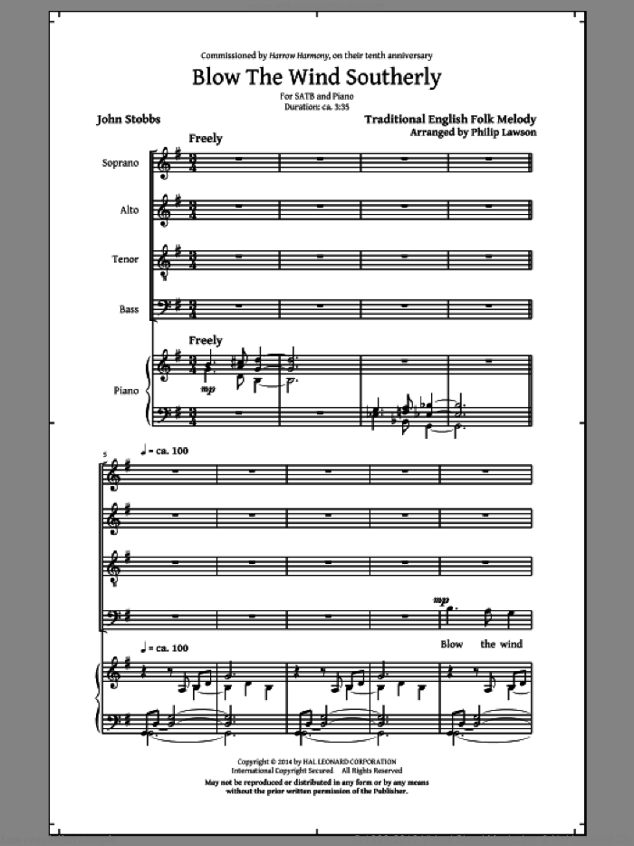 Blow The Wind Southerly sheet music for choir (SATB) by Philip Lawson and John Stobbs. Score Image Preview.