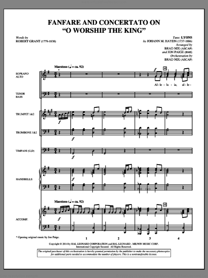 Fanfare and Concertato on 'O Worship the King' (COMPLETE) sheet music for orchestra/band by Brad Nix, Johann Haydn, Johann Michael Haydn, Jon Paige and Robert Grant, intermediate skill level