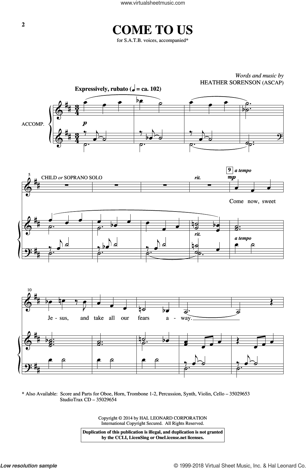Come To Us sheet music for choir and piano by Heather Sorenson. Score Image Preview.